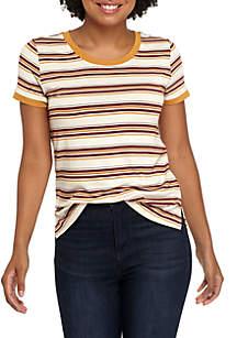Short Sleeve Multi Stripe Ringer Tee