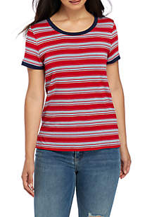 Short Sleeve Multi Stripe Ringer Tee