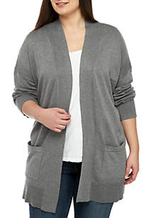 Plus Size Lightweight Duster Pocket Cardigan