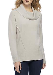 Pink Rose Cowl Neck Drop Shoulder Sweater