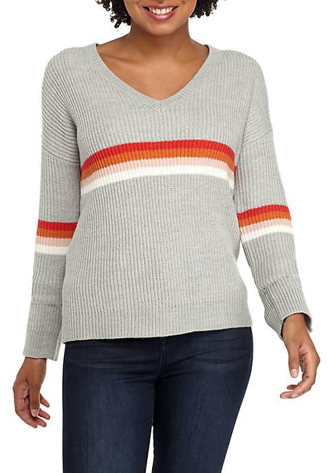 V-Neck Multi Stripe Chest Pullover