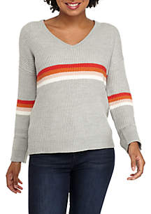 Pink Rose V-Neck Multi Stripe Chest Pullover