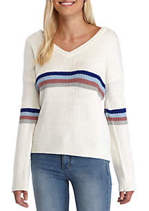 V-Neck Multi Stripe Chest Pullover