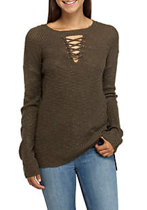 Lace-Up Front Sweater