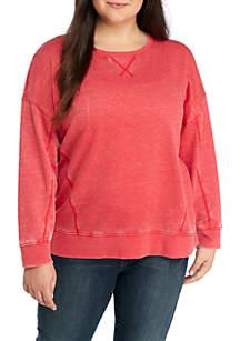 Plus Size Long Drop Shoulder Sleeve Burnout Pullover