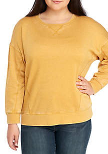 Plus Size Long Drop Shoulder Sleeve Burnout Pullover