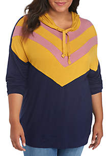 Plus Size Chevron Colorblock Sweatshirt