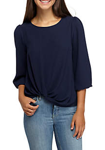 Three-Quarter Twist Front Textured Woven Top