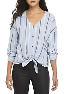 Long Sleeve Button Down Tie Front Top