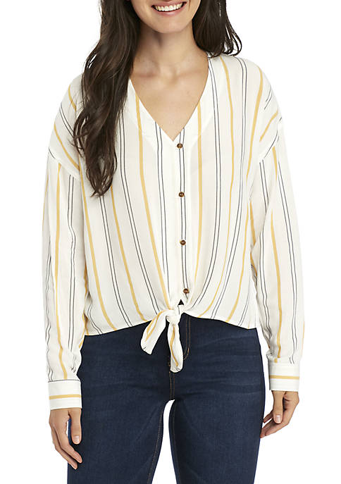 23250a84bedc3 Long Sleeve Button Down Tie Front Top