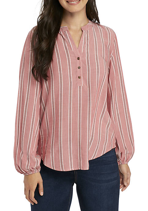 Pink Rose Long Sleeve Button Down Popover Top