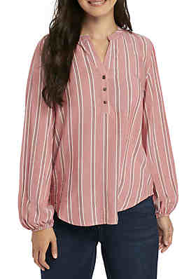 f59c4d503a Pink Rose Long Sleeve Button Down Popover Top ...