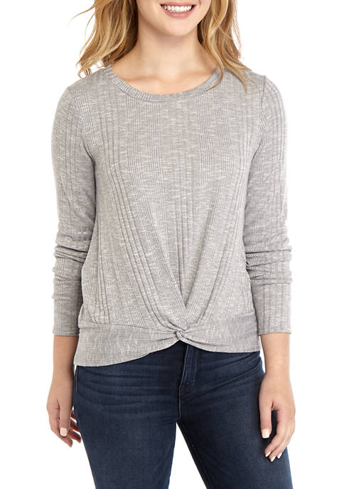 Juniors Twist Front Ribbed Marl Top