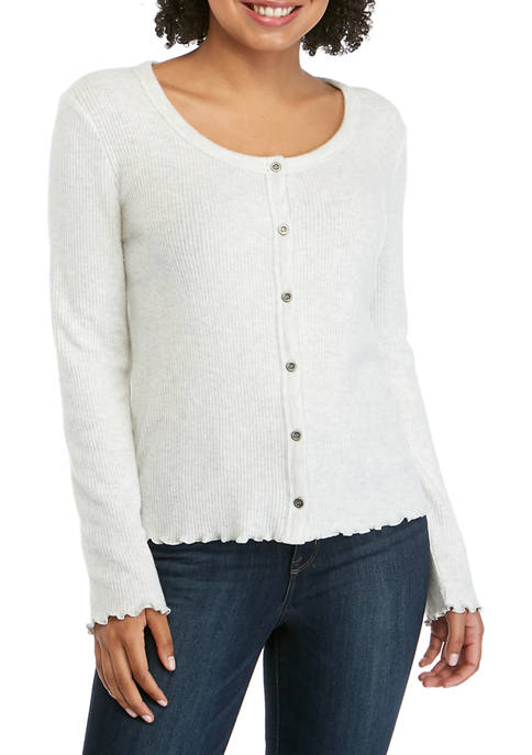 Pink Rose Juniors Long Sleeve Button Front Top