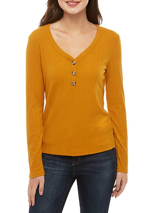Long Sleeve Rib Knit Button Front Top