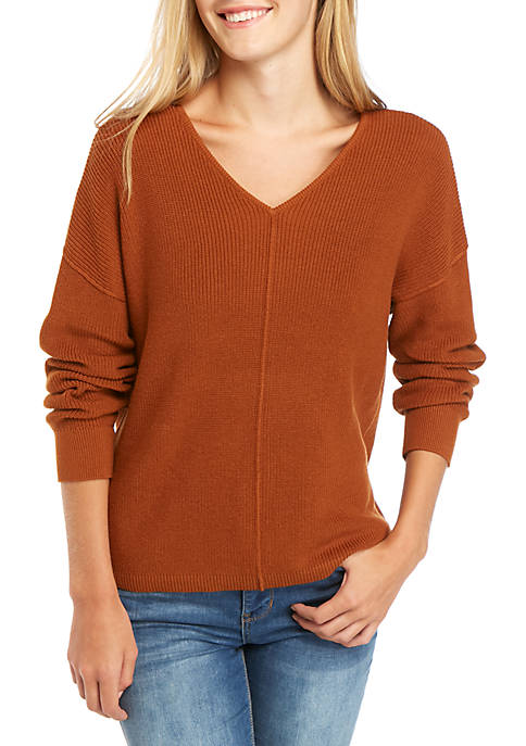 Long Sleeve V-Neck Button Back Sweater