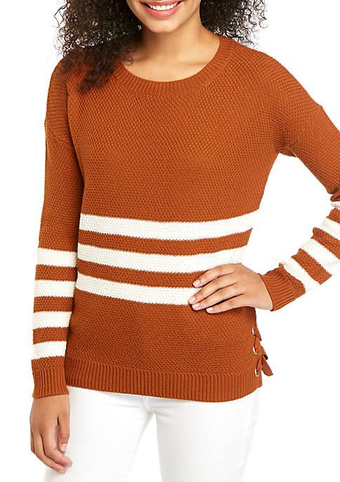 Pink Rose Long Sleeve Stripe Side Tie Sweater
