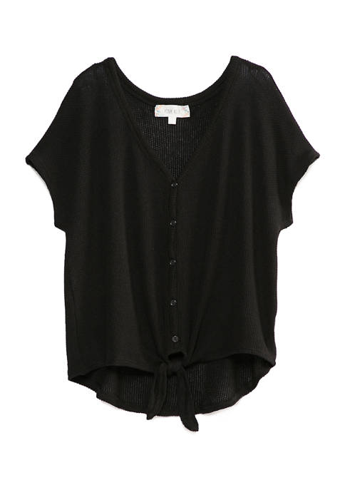 Juniors Textured Hacci Button Front Top