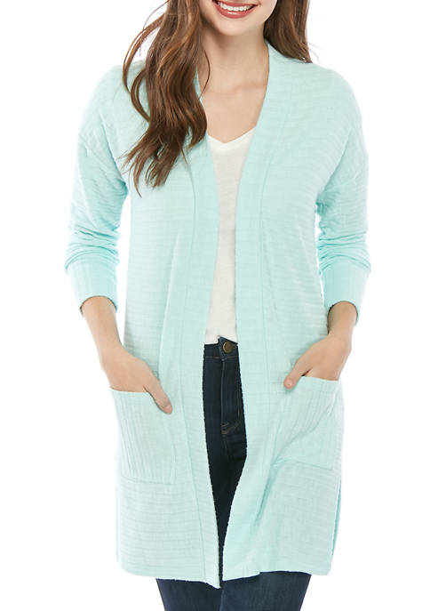 Pink Rose Juniors Long Sleeve Wide Ribbed Duster
