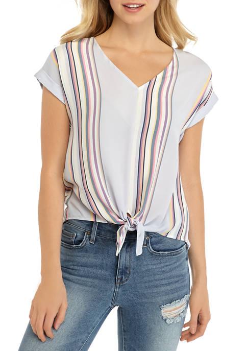 Pink Rose Juniors Stripe Tie Front Woven Top