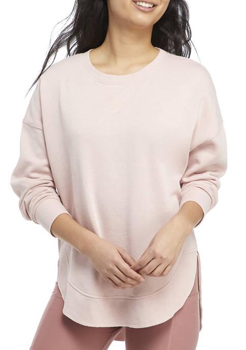 Pink Rose Juniors Long Sleeve Washed Fleece Top