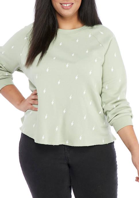 Plus Size Crew Neck Raglan Sweatshirt