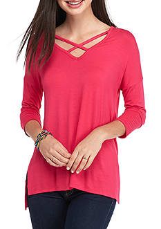 Pink Rose Criss Cross Front Side Slit Tee