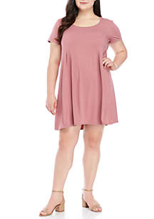 Plus Size Pleated Front Short Sleeve Dress