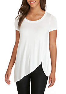 Asymmetrical Hem Short Sleeve T-Shirt