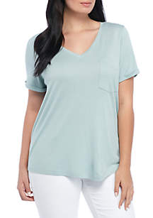 Short Sleeve V-Neck Roll Sleeve Pocket Tee