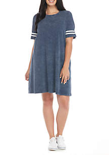 Plus Size Washed Varsity Short Sleeve T-shirt Dress