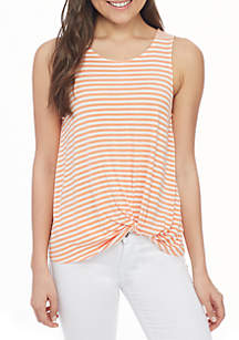 Stripe Sleeveless Knot Front Tank