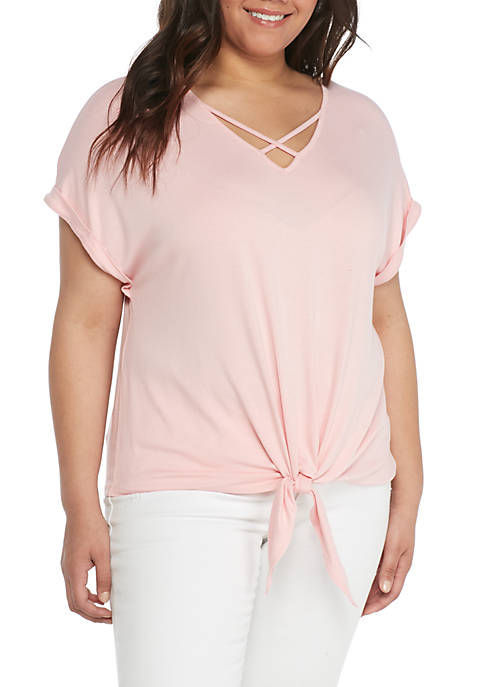 Pink Rose Plus Size X-Front Roll Sleeve Tie