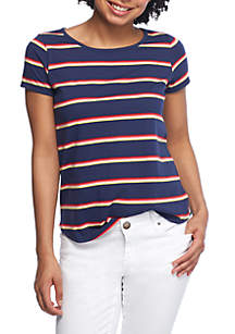 Short Sleeve Yard Stripe Straight Hem Shirt
