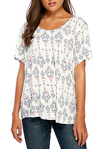 Plus Size Short Sleeve Cross Back High Low Tee