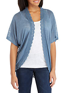 Long Sleeve Crochet Trim Hacci Cardigan