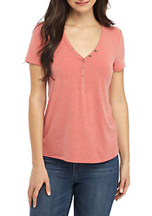Pink Rose Short Sleeve Snap V-Neck Top