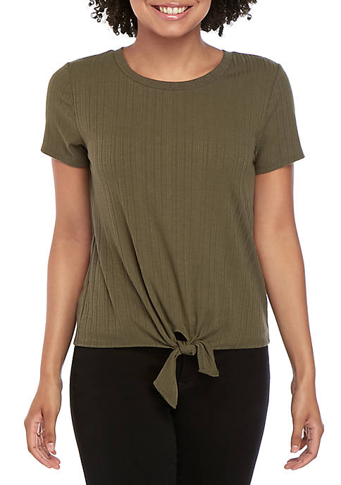 Short Sleeve Rib Knit Tie Front Top