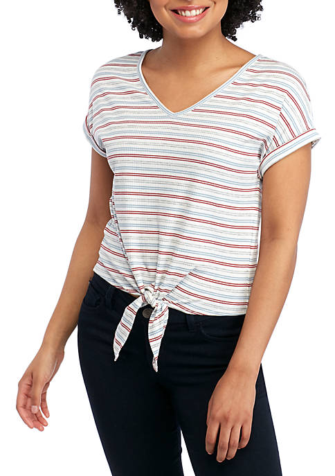 Pink Rose Short Sleeve Ribbed Tie Front Top