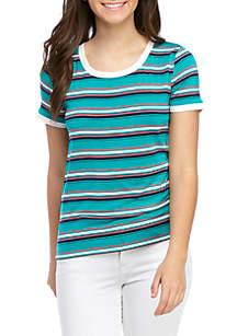 Pink Rose Short Sleeve Striped T Shirt
