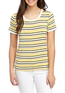 1c63d6af4 ... Pink Rose Short Sleeve Striped T Shirt