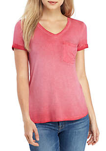 5aca68326e2 ... Pink Rose Short Sleeve V Neck Washed T Shirt