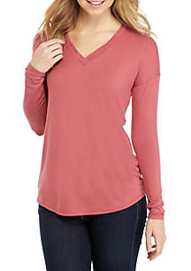 Pink Rose Long Sleeve Raw V-Neck Trim Top