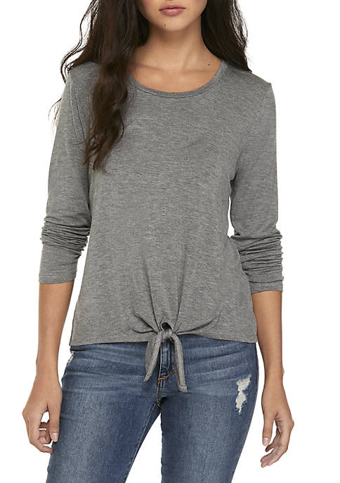 Pink Rose Long Sleeve Knot Front Top