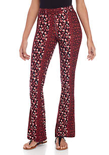 Pink Rose Printed Flare Leg Pants