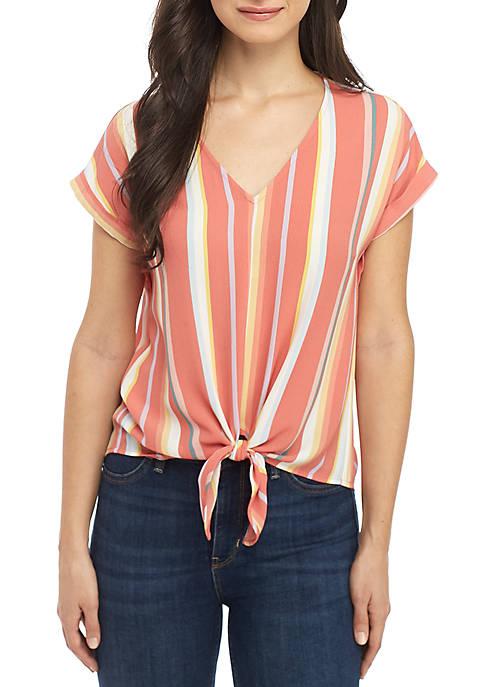 Pink Rose Short Sleeve Woven V-Neck Knot Front