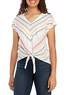 Pink Rose V Neck Roll Tab Tie Front Woven Shirt