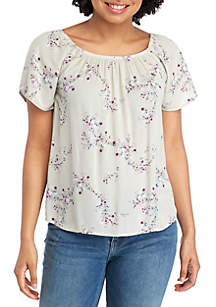 Pink Rose Short Sleeve Woven Crinkle Top