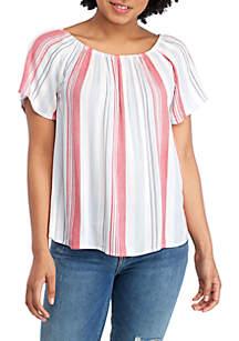 Pink Rose Short Sleeve Woven Crinkle Top