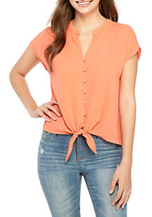 Pink Rose Short Sleeve Button Down Tie Front Woven Top
